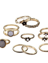cheap -Women's Band Ring Ring Set Midi Rings Moonstone 10pcs Gold Alloy Circle Ladies Rustic / Lodge Trendy Ceremony Date Jewelry Cross Body Cool