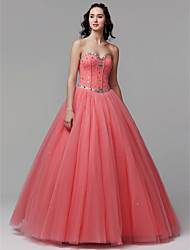 cheap -Ball Gown Sweetheart Neckline Floor Length Satin / Tulle Sparkle & Shine / Elegant / Beaded & Sequin Formal Evening / Quinceanera Dress 2020 with Crystals