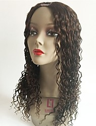 cheap -Remy Human Hair U Part Wig Layered Haircut Middle Part Rihanna style Peruvian Hair Curly Brown Wig 130% Density with Baby Hair For Black Women Women's Short Medium Length Long Human Hair Lace Wig