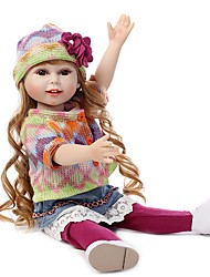 cheap -NPKCOLLECTION NPK DOLL Fashion Doll Country Girl 18 inch Full Body Silicone Vinyl - Gift Hand Made Artificial Implantation Brown Eyes Kid's Girls' Toy Gift