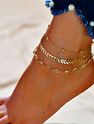 cheap -Anklet feet jewelry Dainty Ladies Fashion Women's Body Jewelry For Gift Daily Layered Alloy Alphabet Shape Gold Silver 1pc