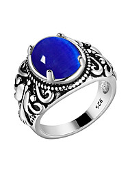 cheap -Men's Band Ring Sapphire 1pc Dark Blue Red Green S925 Sterling Silver Vintage Korean Fashion Party Masquerade Jewelry Flower Magic