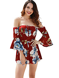 cheap -Women's Going out Boat Neck White Black Wine Wide Leg Romper, Floral L XL XXL Half Sleeve