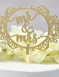 cheap -Cake Topper Classic Theme / Wedding Cut Out Acryic / Polyester Wedding / Anniversary with Sided Hollow Out 1 pcs OPP