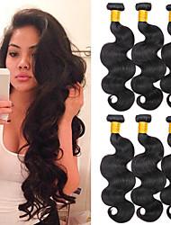 cheap -6 Bundles Indian Hair Body Wave Virgin Human Hair 100% Remy Hair Weave Bundles Headpiece Natural Color Hair Weaves / Hair Bulk Bundle Hair 8-28 inch Natural Color Human Hair Weaves Odor Free Extender
