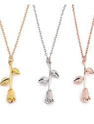 cheap -Women's Pendant Necklace Floral / Botanicals Flower Ladies Classic Vintage Fashion Alloy Rose Gold Gold Silver 45 cm Necklace Jewelry 1pc For Party / Evening Going out
