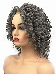 cheap -Synthetic Lace Front Wig Curly Middle Part Lace Front Wig Medium Length Grey Synthetic Hair Women's African American Wig For Black Women Dark Gray StrongBeauty