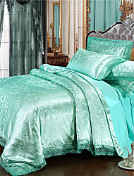 cheap -Duvet Cover Luxury Polyster Jacquard 4 PieceBedding Sets / 300 / 4pcs (1 Duvet Cover, 1 Flat Sheet, 2 Shams)