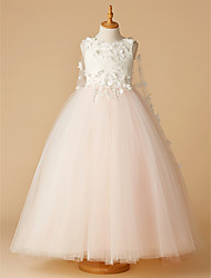 cheap -Ball Gown Floor Length Wedding / Party / Pageant Flower Girl Dresses - Lace / Tulle Sleeveless Jewel Neck with Beading / Appliques / Flower