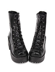 cheap -Women's Lolita Shoes Boots Punk Fashion Gothic Lolita Gothic Creepers Shoes Solid Colored 8 cm Black PU(Polyurethane) Halloween Costumes / Steampunk