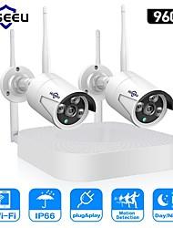 Недорогие -hiseeu 4ch беспроводная камера cctv система 960p 1,3-мегапиксельная камера водонепроницаемая p2p домашняя система видеонаблюдения системы видеонаблюдения
