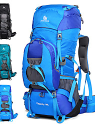 cheap -80 L Hiking Backpack Rucksack Breathable Straps - Waterproof Reflective Trim High Capacity Outdoor Camping / Hiking Hunting Fishing Nylon Black Sky Blue Blue / Yes