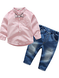 cheap -Baby Boys' Casual / Street chic Holiday / Going out Striped Long Sleeve Regular Clothing Set Blushing Pink / Toddler