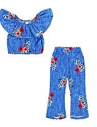 cheap -Kids Girls' Active Boho Daily Holiday Striped Floral Ruffle Print Short Sleeve Short Cotton Clothing Set Blue