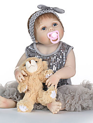 cheap -24 inch Reborn Doll Baby Girl lifelike Gift Non Toxic Artificial Implantation Blue Eyes Tipped and Sealed Nails Full Body Silicone with Clothes and Accessories for Girls' Birthday and Festival Gifts