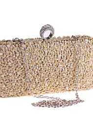 cheap -Women's Bags Polyester Evening Bag Crystals Sequin Solid Color Rhinestone Crystal Evening Bags Wedding Party Event / Party Black Champagne Silver