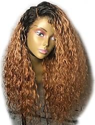 cheap -Virgin Human Hair Lace Front Wig Layered Haircut Rihanna style Brazilian Hair Curly Auburn Wig 150% Density with Baby Hair Ombre Hair Dark Roots Women's Short Medium Length Long Human Hair Lace Wig