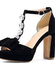 cheap -Women's Sandals Chunky Heel Open Toe Sparkling Glitter PU Comfort Summer Black / Almond / Fuchsia