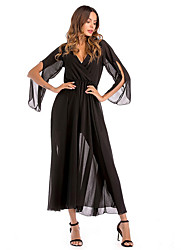 cheap -Women's Party Loose Chiffon Dress V Neck Blue Black Red L XL XXL