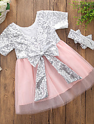 cheap -Toddler Girls' Casual Party Daily Patchwork Sequins Short Sleeve Dress Blushing Pink / Cotton / Cute