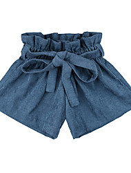 cheap -Baby Girls' Basic Daily Solid Colored Lace up Cotton Shorts Blue / Toddler