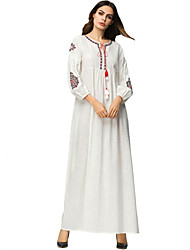 cheap -Women's Maxi White Dress Basic Summer Daily Abaya Embroidered M L Loose / Cotton