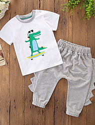 cheap -Baby Boys' Casual / Street chic Daily / Holiday Dragon Print Print Short Sleeve Regular Clothing Set Light gray / Toddler