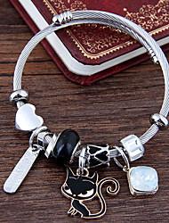 cheap -Women's Charm Bracelet Layered Cat European Fashion Cute Alloy Bracelet Jewelry White / Black / Pink For Daily
