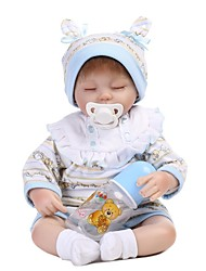 cheap -NPKCOLLECTION 18 inch NPK DOLL Reborn Doll Baby Boy lifelike Gift Cute Cloth 3/4 Silicone Limbs and Cotton Filled Body with Clothes and Accessories for Girls' Birthday and Festival Gifts