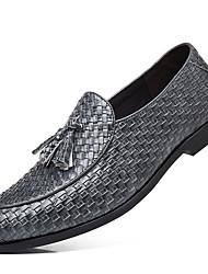 Недорогие -Муж. Официальная обувь Обувь для новинок Осень Английский Для вечеринки / ужина Офис и карьера Туфли на шнуровке Искусственная кожа Черный / Красный / Серый