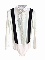 cheap -Figure Skating Top Men's Ice Skating Top White Spandex Micro-elastic Professional Competition Skating Wear Sequin Long Sleeve Figure Skating