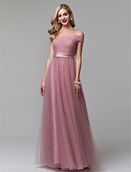 cheap -A-Line Minimalist Pink Prom Formal Evening Dress Off Shoulder Short Sleeve Floor Length Tulle with Ruched 2020