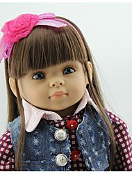 cheap -NPKCOLLECTION NPK DOLL Fashion Doll Country Girl 18 inch Vinyl - Gift Cute Artificial Implantation Blue Eyes Kid's Girls' Toy Gift