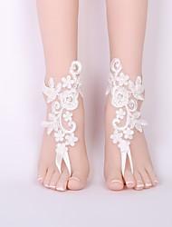 Недорогие -Лассо Украшения на ноги - Кружево Цветы Классика, Мода Белый Назначение Свадьба / Жен.