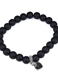 cheap -Women's Obsidian Bead Bracelet Heart Ladies Vintage Fashion Agate Bracelet Jewelry Black For School Date