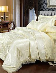 cheap -Duvet Cover Sets Luxury Polyster Printed & Jacquard 4 PieceBedding Sets / 300 / 4pcs (1 Duvet Cover, 1 Flat Sheet, 2 Shams)