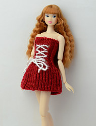 cheap -Doll Dress Dresses Lines / Waves Multi Color Tulle Basketwork Lace Polyester Acrylic Fibers Handmade Toy for Girl's Birthday Gifts  / Kids