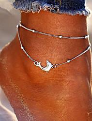 Недорогие -Жен. лодыжке браслет Многослойный Дельфин Дамы Богемные Мода Ножной браслет Бижутерия Серебряный Назначение Праздники Бикини