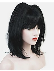 cheap -Synthetic Wig Matte Bob Wig Medium Length Natural Black Synthetic Hair Women's 100% kanekalon hair Black StrongBeauty
