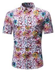 cheap -Men's Beach Weekend Basic Cotton Slim Shirt - Floral / Color Block Daisy / Sun Flower, Print Rainbow / Short Sleeve
