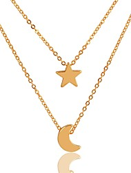 cheap -Women's Chain Necklace Layered Necklace Moon Star Crescent Moon Ladies Simple Classic Fashion Gold Plated Alloy Gold 40 cm Necklace Jewelry 2pcs For Daily Birthday