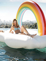 cheap -Rainbow Inflatable Pool Floats PVC Inflatable Durable Water Sports Rafting for Adults 210*140*135 cm