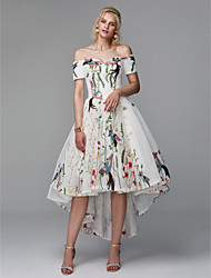 cheap -Ball Gown Off Shoulder Asymmetrical Polyester Floral / High Low / Cute Cocktail Party / Prom Dress with Embroidery 2020