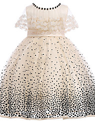 cheap -Kids Girls' Vintage Basic Party Birthday Polka Dot Lace Sleeveless Knee-length Dress Beige / Cotton