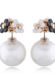 cheap -Women's Stud Earrings Jacket Earrings Double Twine Flower European Sweet Fashion Imitation Pearl Earrings Jewelry Golden For Party / Evening 1 Pair