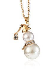 cheap -Women's Pendant Necklace Thick Chain Happy Ladies Sweet Imitation Pearl Rhinestone Alloy Gold Silver 70+5 cm Necklace Jewelry 1pc For Christmas Daily