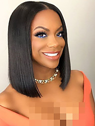 cheap -Virgin Human Hair Unprocessed Human Hair Lace Front Wig Bob style Brazilian Hair Straight Black Wig 150% Density with Baby Hair African American Wig Women's Short Human Hair Lace Wig