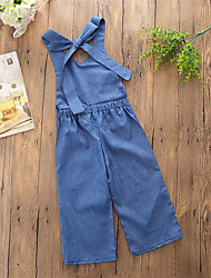 cheap -Baby Girls' Active / Basic Daily / Going out Solid Colored Backless Sleeveless Overall & Jumpsuit Blue / Toddler