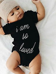 cheap -Baby Boys' Vintage / Basic Daily / Holiday Print Printing Short Sleeves Bodysuit Black / Toddler