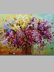 cheap -Oil Painting Hand Painted Abstract Floral / Botanical Comtemporary Modern Stretched Canvas With Stretched Frame